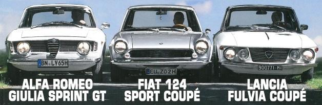Fiat124coupe Alfa Guilia sprint Lancia Fulvia coupe